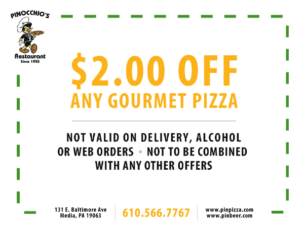$2.00 off any gourmet pizza